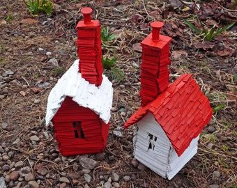 Scandinavian Inspired Recycled Cardboard House Models - Set of 2 in Red and White