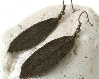 Brass Feather Earrings, Long Feather Earrings, Metal Feather Earrings, Women, Gift, Feather Dangle Earrings, Feather Boho Earrings, Teens