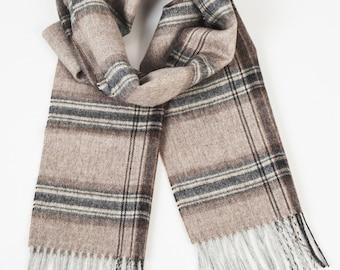 100 % baby alpaca wool scarf / wool scarf / scarf / checked scarf / checked scarves / checked brown scarf / checked wool scarf 'Brown mix'