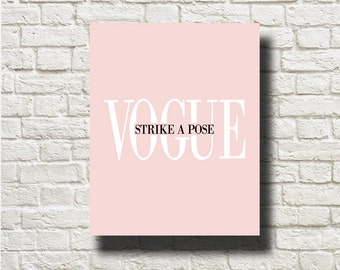 Vogue Strike A Pose Pink Black and White Printable Instant Download BW0219p