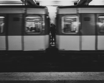 Inbetween Photo Print: Fine Art, Paris Metro, France, Europe, Travel, Subway, Black and White, B&W, 4x6, 5x7, 8x10
