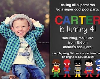 Super Heros Birthday invitation - Superman, Batman, Hulk, Captain America (DIGITAL COPY)