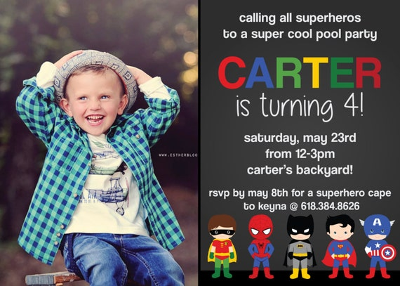Super Heros Birthday invitation - Superman, Batman, Hulk, Captain America (DIGITAL COPY)