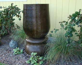 Beautiful Hand-Carved Concrete Fountain on Pedestal