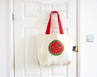 Watermelon Canvas Tote Bag/ Fruity Tote Bag/ Cotton Bag/ Tropical Fruit Design/ Eco Friendly/ Shoulder Bag/ Summer Bag/ Food Art