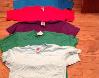 10 vintage youth 10-12 t tee shirts deadstock new old 50/50