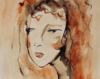 Face Painting, Original Ink and acrylic Drawing, Womans Face, Girls Face, Female Portrait