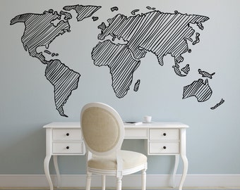 Hand drawn world map decal. Wall decal. Map wall decal. Removable