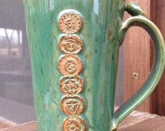 Chakra Yoga mug in Stoneware Clay - handmade Pottery Mug Green