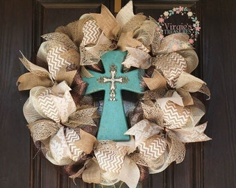 Chevron Burlap & Deco Mesh Wreath with Turquoise Wooden Cross-Neutral Everyday Wreath-Anniversary-Housewarming gift