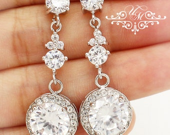 Wedding Jewelry AAA Cubic Zirconia Earrings Zirconia studs earrings Bridal Earrings Bridesmaids Earrings Rhinestone earrings - MACEY