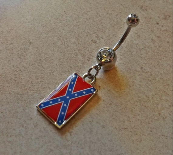 rebel flag navel belly ring jewelry