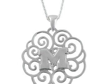 Michigan Sterling Silver Filigree Necklace, Wolverines Silver Jewelry, UMI-6118F