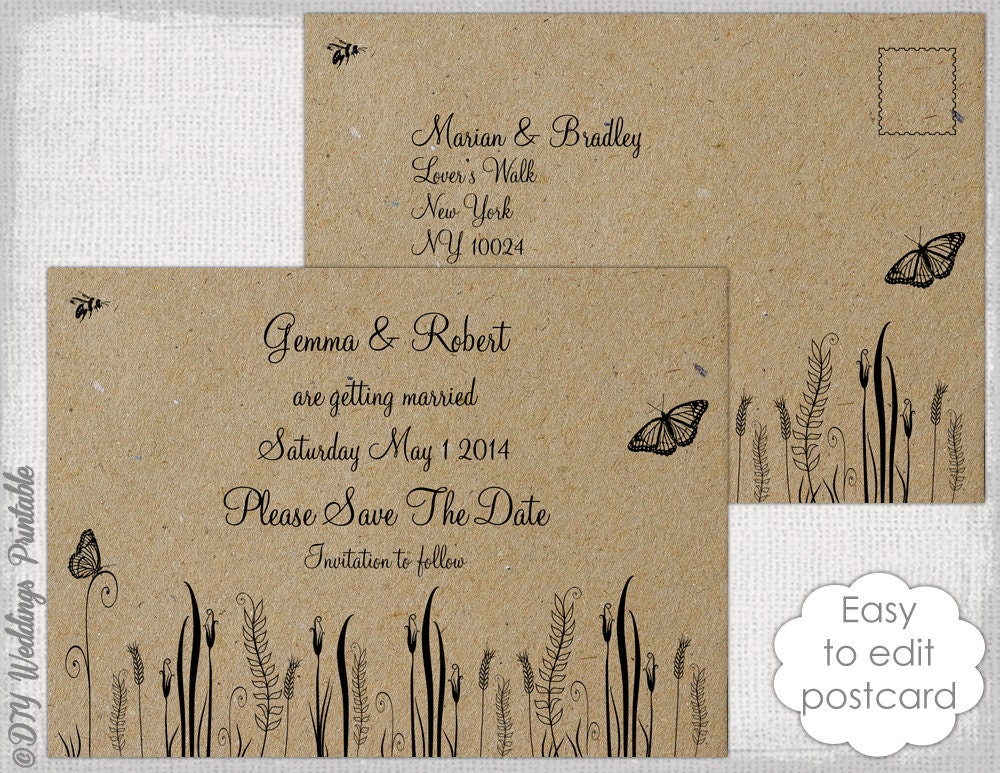 Rustic save the date template rustic butterfly for Rustic save the date templates free