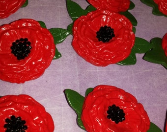 Poppy brooch handmade clay and rhinestones