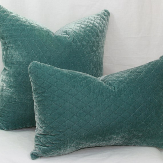 Light Teal Quilted Velvet Decorative Throw Pillow By