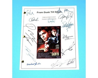 From Dusk Till Dawn Movie Signed Script Screenplay Autographed: Quentin Tarantino, George Clooney, Harvey Keitel, Salma Hayek