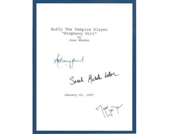 "Buffy The Vampire Slayer ""Prophecy Girl"" 1997 Episode TV Script Autographed: Sarah Michelle Geller, Joss Whedon, Anthony Stewart Head"