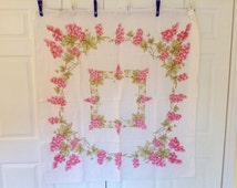 """Vintage 1960's Pink Grapes Linen Square Tablecloth- 47"""" x 50"""", gorgeous, excellent condition, wedding, baby shower"""