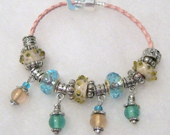 294 - CLEARANCE - Pink and Teal Bracelet