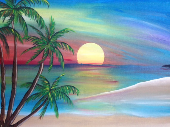 Sunset beach painting original artwork beach decor beach for Paint night home parties