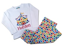 Boy's Circus Outfit with Circus Tent Shirt  and Matching Pants - F22