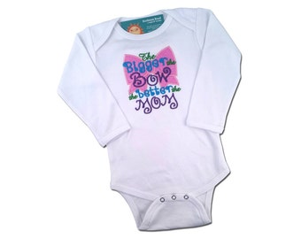 Girl's 'The BIGGER the BOW the BETTER the Mom' Embroidered bodysuit