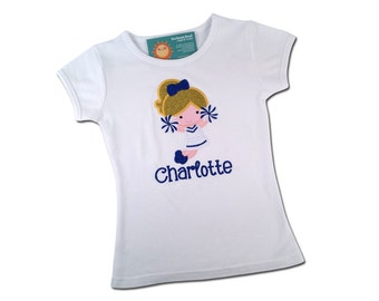 Girl's Cheerleader Shirt with Embroidered Name - Cutie Cheerleader #1 with Customizable Colors