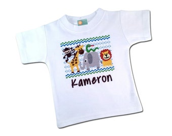 Boy's Jungle Shirt with Faux Smocked Animals and Embroidered Name