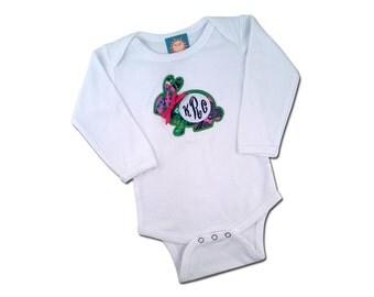 Baby Girl's '1st Easter' bodysuit with Floral Easter Bunny and Monogram