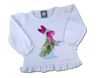 Girl's Easter Outfit with Floral Bunny Shirt and Embroidered Name