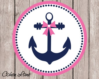 Instant Download Printable Anchor Iron On Transfer Design. Girls Nautical Iron On.  Beach Shirt. Anchor Transfer.
