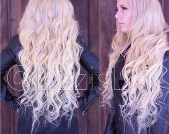 20 clip in extensions blonde with pastel blue pink 30 clip in extensions lightest blonde 60 100 remy human pmusecretfo Choice Image