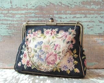 Vintage 1920's tapestry bag purse