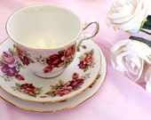 Vintage Queen Anne 'Roses' Teacup and Saucer Trio