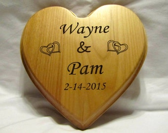 Personalized Wedding Heart Plaque With Custom Engraving