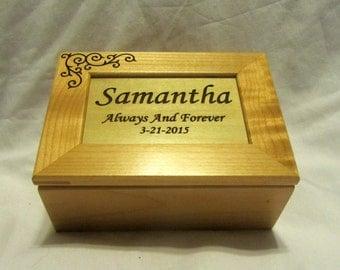 Personalized Wooden Keepsake Box - Wedding Engagement