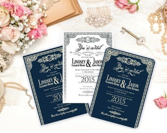 Elegant scroll wedding invitation set- printed
