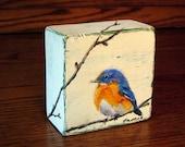 MADE TO ORDER - Blue Bird Painting/ Original Oil Painting on Wood Block/ Wildlife Art/ Miniature Art/ Small Painting / Mini Painting
