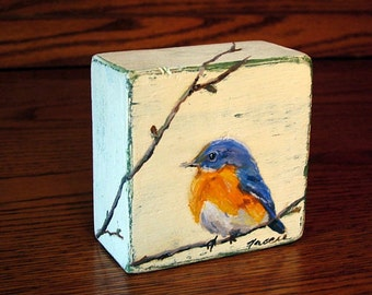MADE TO ORDER - Blue Bird Painting/ Original Oil Painting on Wood Block/ Wildlife Art/ Miniature Art/ Small Painting / Mini Painting