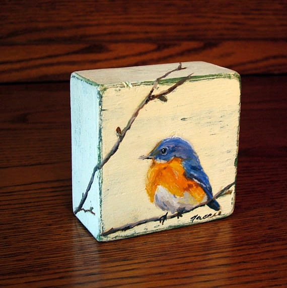 Items Similar To Made To Order Blue Bird Painting Original Oil Painting On Wood Block