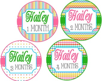 Personalized LIttle Girls Monthly Onesie Stickers