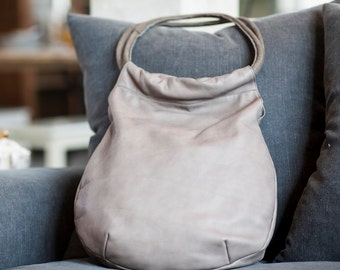 Sale!!! Gray Leather Hobo Bag, soft Leather bag