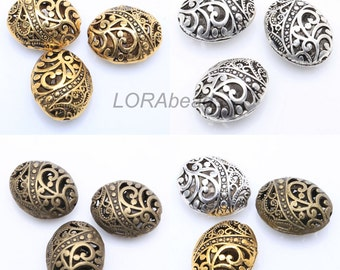 10Pcs Antique Silver/Golden/Bronze Ellipse Shaped Hollow Metal Spacer Beads