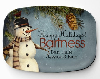 Personalized Snowman Platter, Melamine Winter Serving Platter, Melamine Platter, Personalized Christmas Serving Tray, Decor