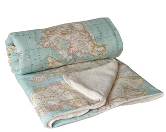 World Map Blanket, map blanket, blue blanket, baby map blanket, throw blanket, Dorm Blanket, Travel Blanket, globe blanket, gift travelers