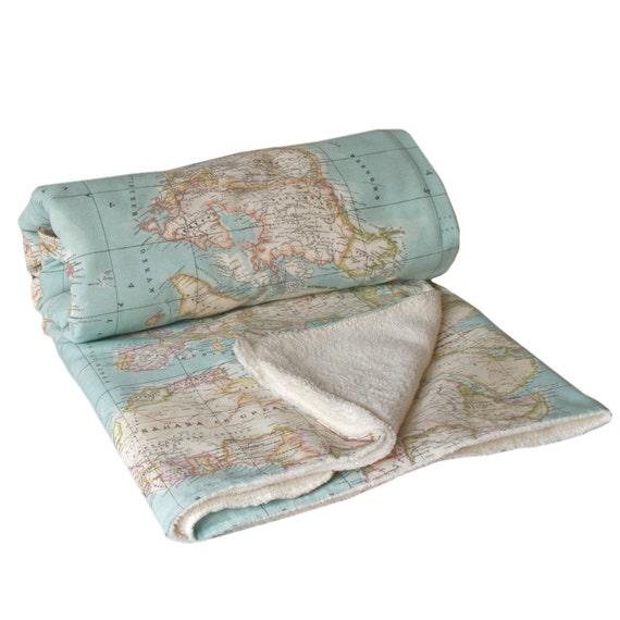 World Map Blanket, map blanket, blue blanket, baby map blanket, throw blanket, Dorm Blanket, Travel Blanket, globe blanket, gift travelers