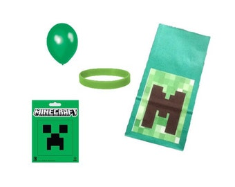 Filled Party Bag with Minecraft Sticker. WB