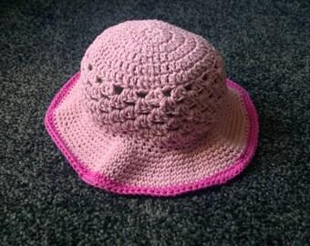 Crochet pink summer hat age 3-6 months