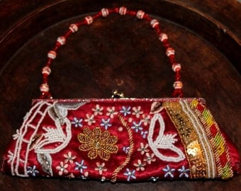 Clutch on SALE ,  Bohemian Clutch , Boho Beaded Clutch ,  Flower Embroidery sequins and beads  Clutch , Urban purse